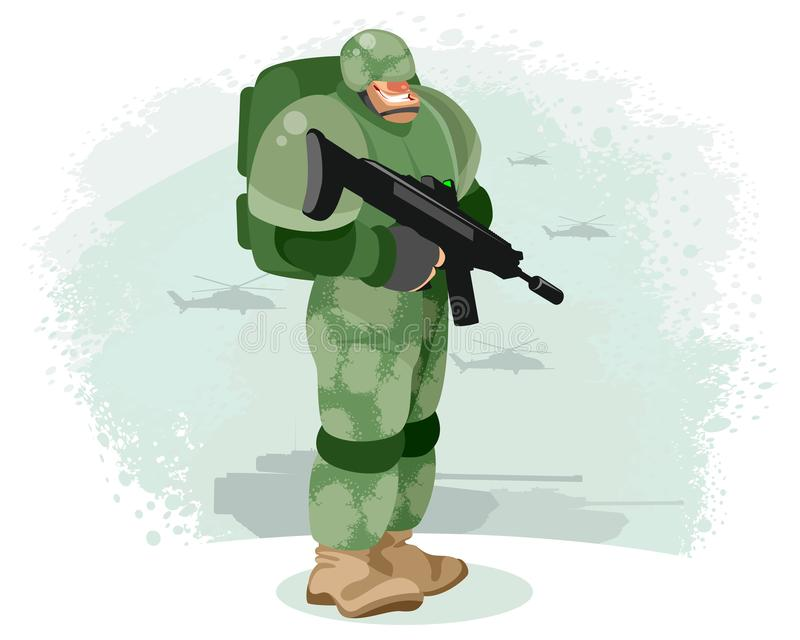 Soldier with a gun. Vector illustration of a soldier with a gun stock illustration