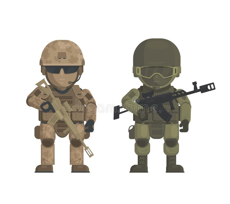 Vector illustration of soldiers on White background. Two soldiers have different military uniform forest and desert coloring they are holding a weapon. Soldiers vector illustration