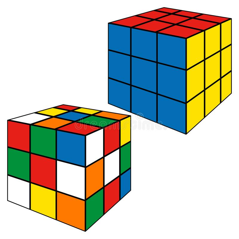 Vector Illustration Rubics cube. Vector Illustration a solved and an unsolved rubics cube isolated in white background vector illustration
