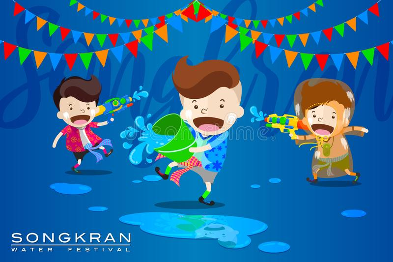 "Vector Illustration for ""Songkran"" or ""Water Festival"" in Thailand and many other countries in Southeast Asia. With cute cartoon in the stock illustration"