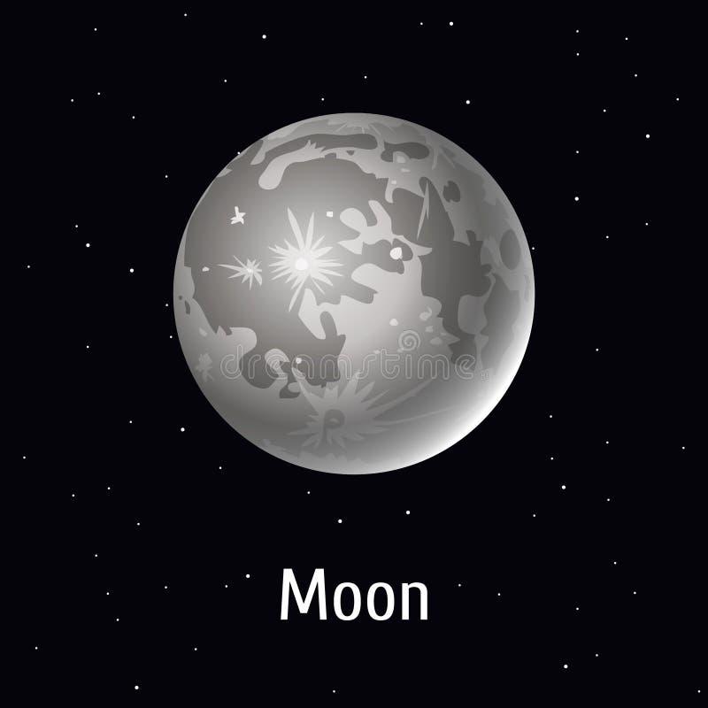 Vector Illustration Sonnensystemgegenstand, Mond auf Raumhintergrund stock abbildung