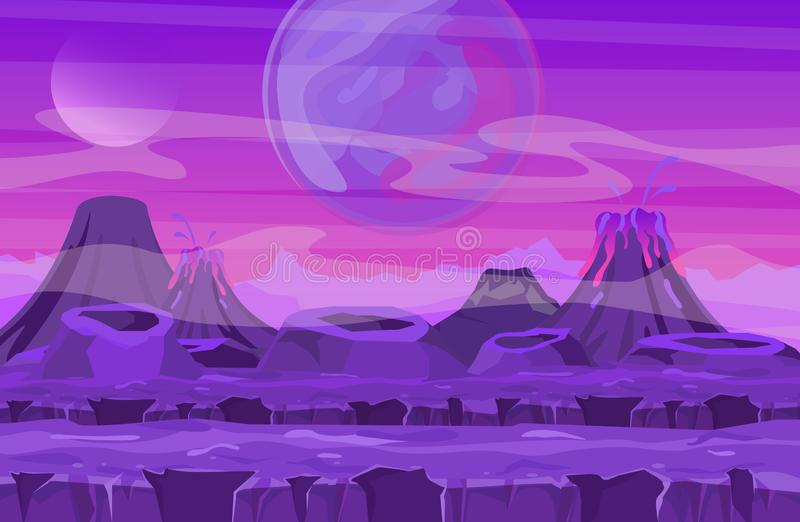 Vector illustration of space landscape with pink planet view. Mountains and volcanos, other planets in the sky vector illustration
