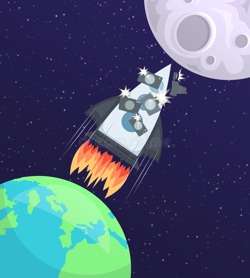 Vector illustration of a space rocket with tourists and cameras flying from Earth to the Moon. vector illustration