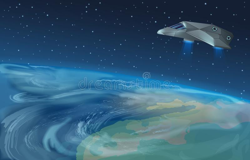 Vector illustration of spaceship flying over planet to blue star in opened galaxy space. Earth view from space. stock illustration