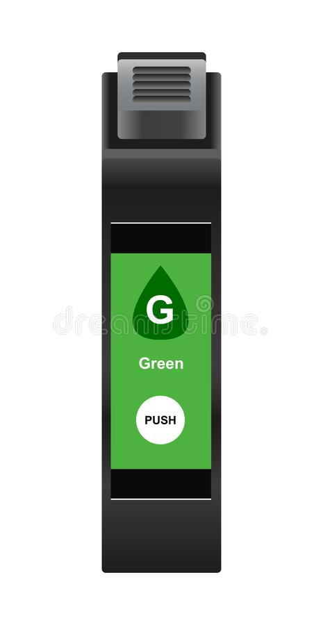 Vector illustration of special green ink cartridge for ink-jet technology. Vector illustration of special green ink cartridge for inkjet printer isolated on a stock illustration