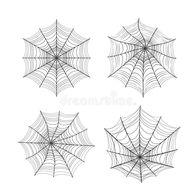 Vector illustration of spider web silhouette set for halloween. Greeting template isolated on white background stock illustration
