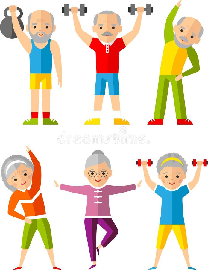 Vector illustration sport healthy and leisure old people activities royalty free illustration