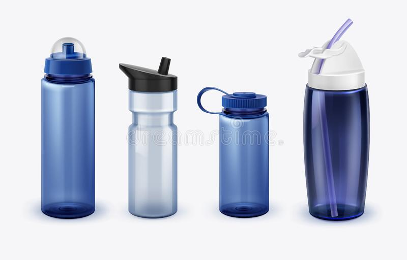 Vector illustration of sport water bottles set various shapes and size isolated on background royalty free illustration