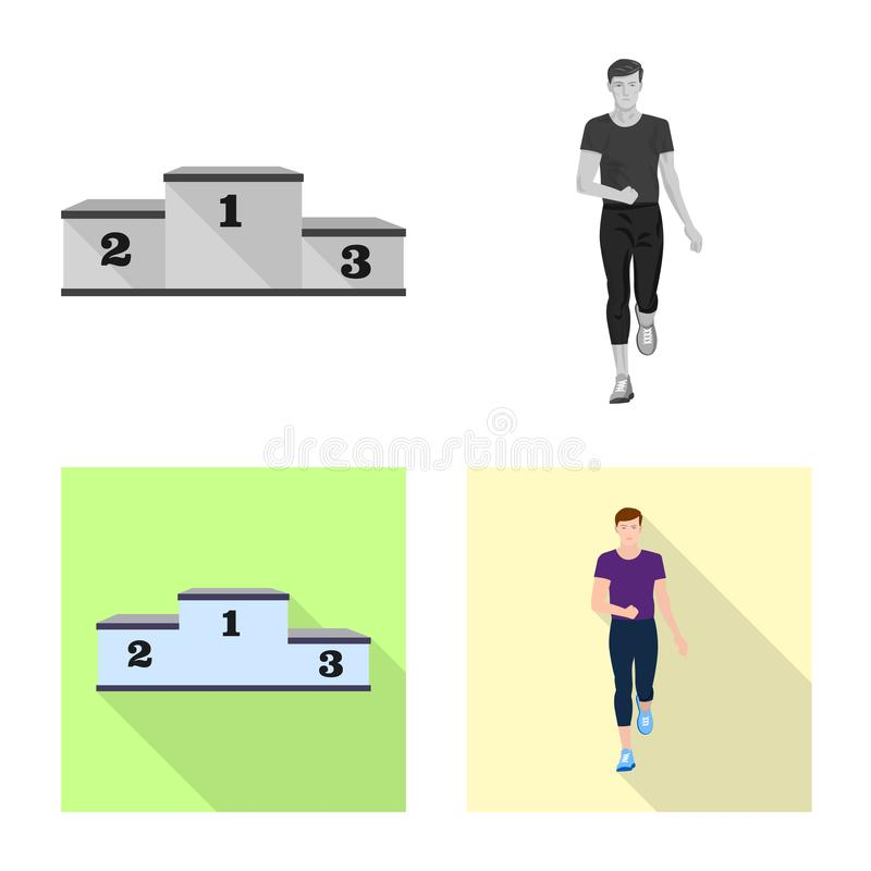 Vector design of sport and winner sign. Collection of sport and fitness vector icon for stock. Vector illustration of sport and winner logo. Set of sport and stock illustration