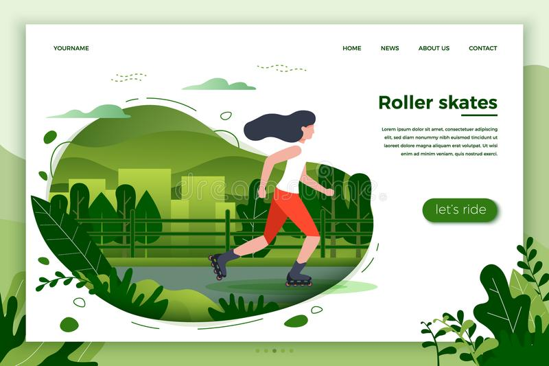 Vector illustration - sporty girl roller skating stock illustration