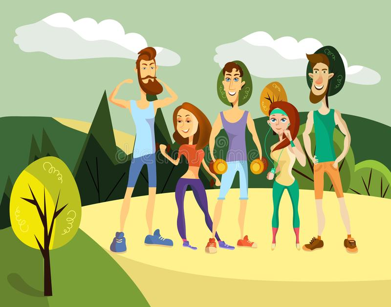 Vector set of fitness people in cartoon style vector illustration