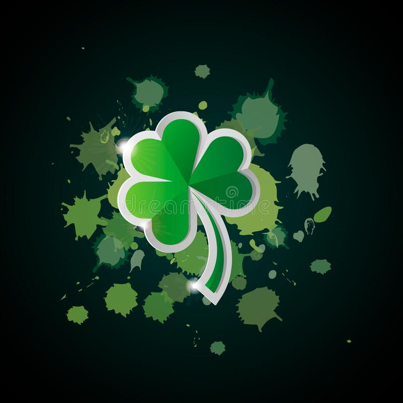 Vector illustration for St. Patrick s day. Four leaf clover isolated on dark gradient background of paint stains stock illustration