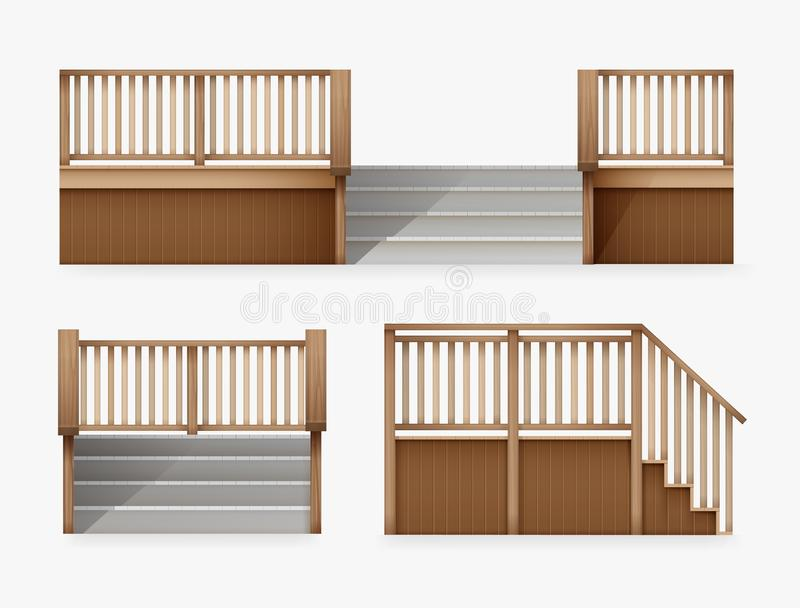 Vector illustration of staircase for entrance to house, stairway of porch from wooden balustrade front and side view stock illustration