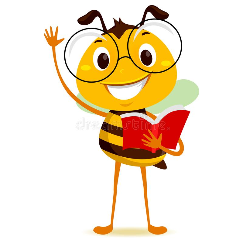 Bee Student Holding a Book while Raising his hand royalty free illustration