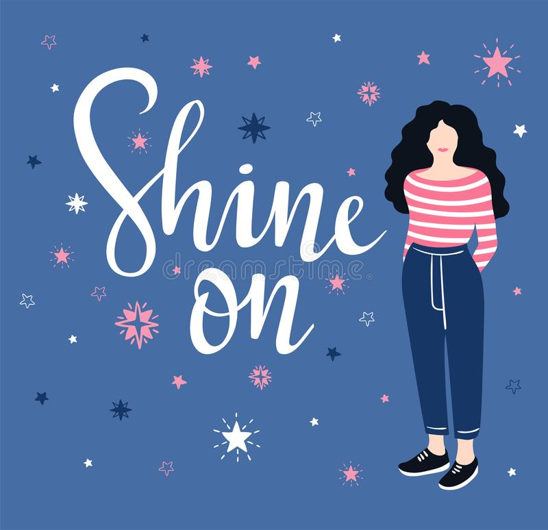 Vector illustration. Star background with isolated stylish lettering - `Shine on`. Inspiring poster. Vector illustration. Star background with isolated stylish vector illustration