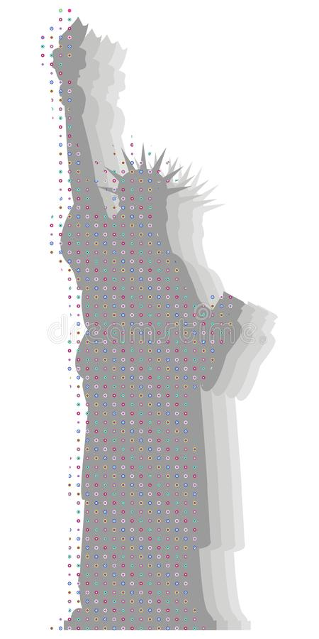 Vector illustration of the Statue of Liberty. Optical effects. Travel and tourism. Statue of Liberty. Vector illustration with optical effects. Isolated on vector illustration