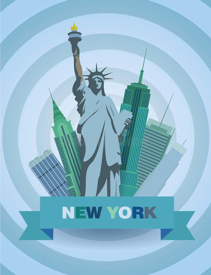Vector illustration with Statue of Liberty and the skyscrapers stock image