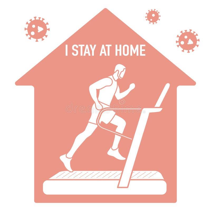 Quarantine Stop Coronavirus Sport People Stay home stock photos