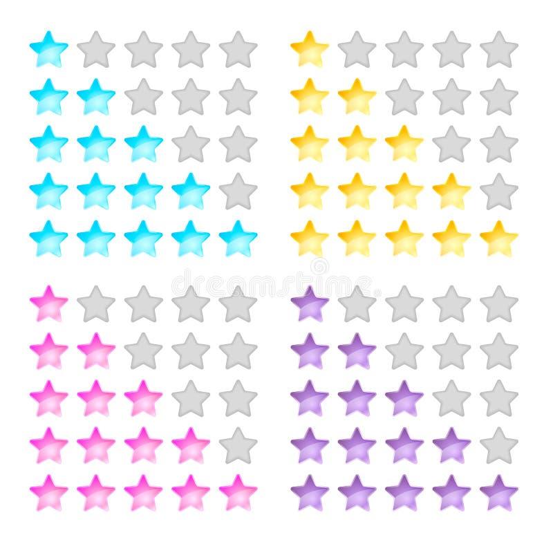 Vector Illustration, Sterne, Bewertung, Niveaus der Schwierigkeit, Gelb stock abbildung