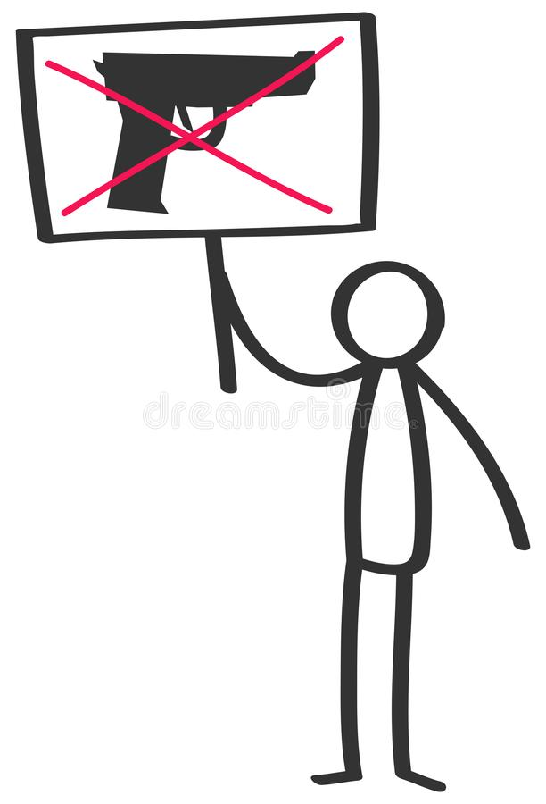 Vector illustration of stick figure protesting gun violence holding up sign with crossed-out gun. Isolated on white background stock illustration