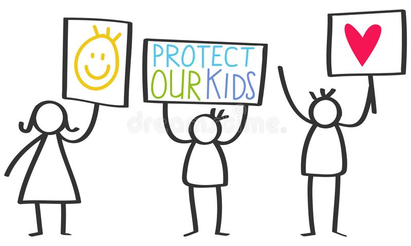 Vector illustration of stick figures holding up signs, protect our kids, love vector illustration