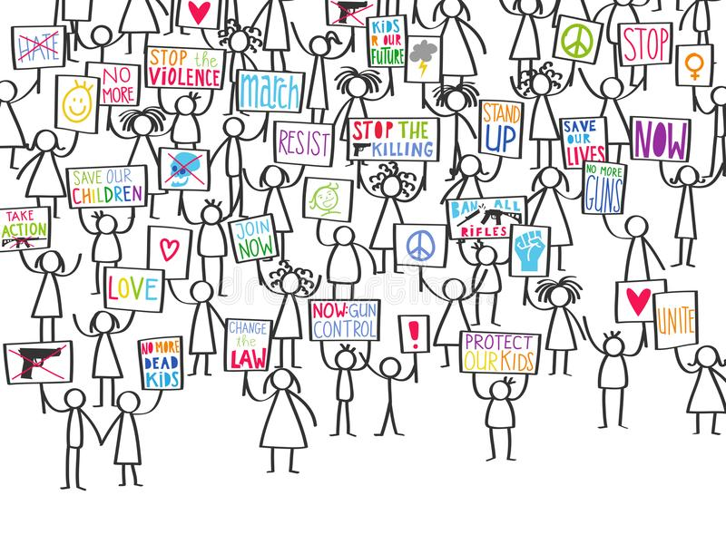 Vector illustration of stick figures pro gun control, protesting gun violence, holding up signs. Isolated on white background vector illustration