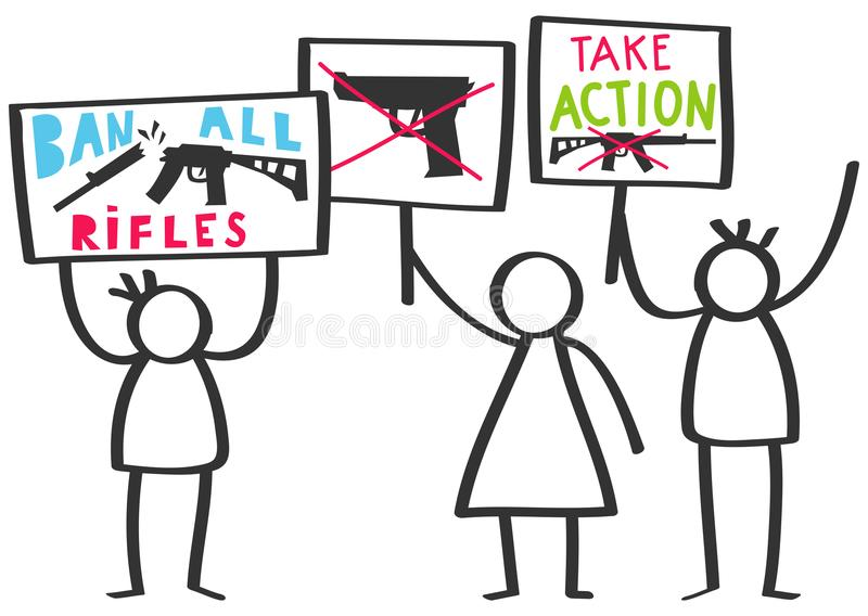 Vector illustration of stick figures protesting gun violence holding up signs, ban all rifles. Isolated on white background vector illustration