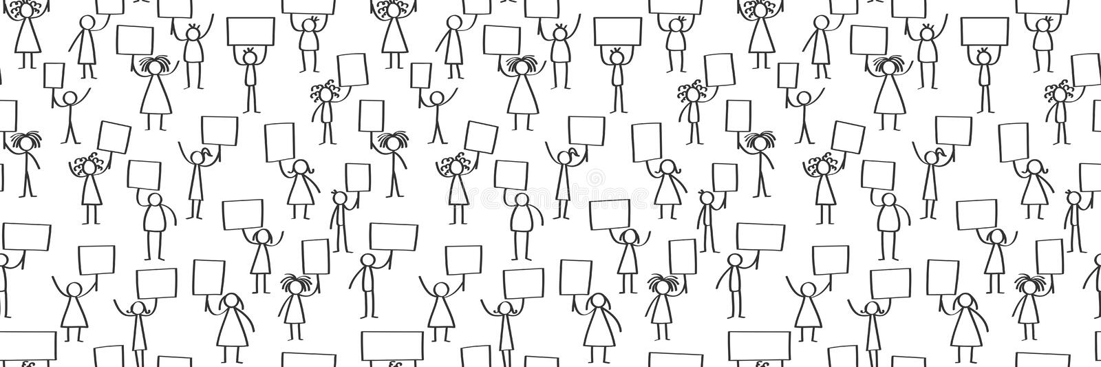 Vector illustration of stick figures protesting, holding up blank signs, seamless banner. Isolated on white background stock illustration