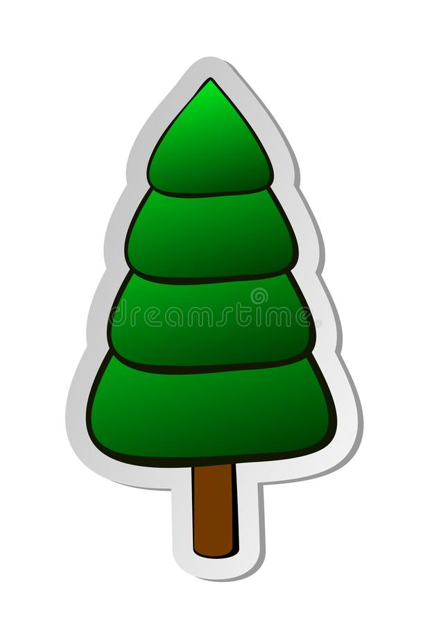 Sticker of green christmas tree in flat cartoon style isolated on white background royalty free illustration