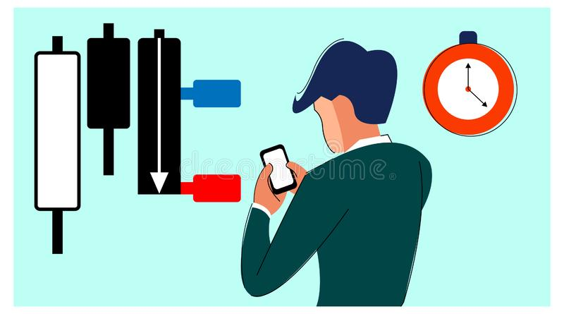 Vector illustration of stock market participants. trader is using a forex / stock trading application. observe the exact time of a vector illustration