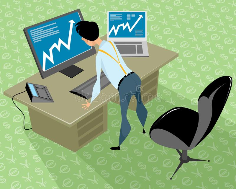 Stockbroker in the office vector illustration