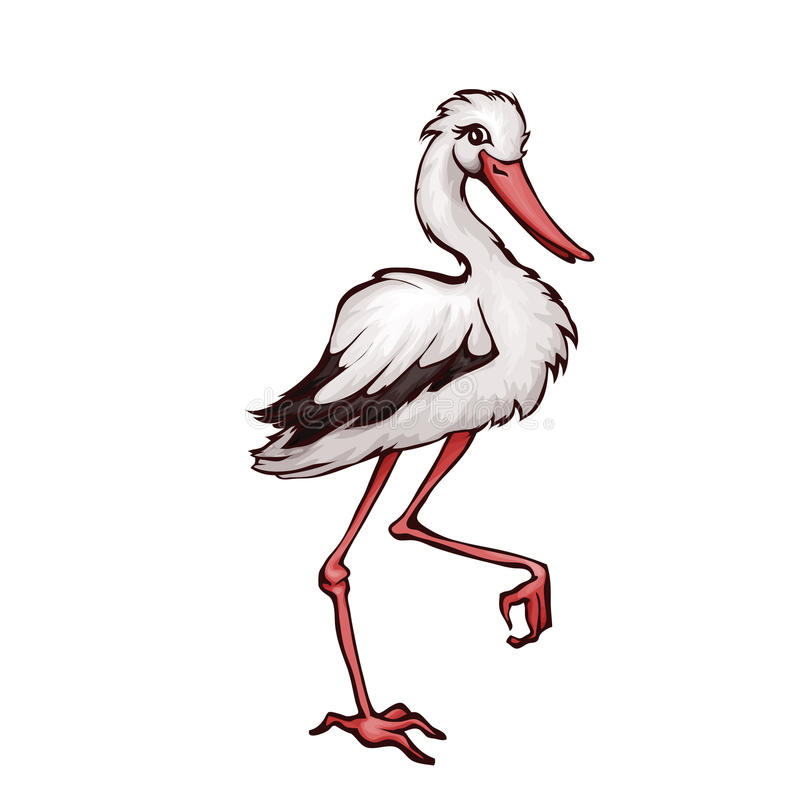 Vector illustration of stork in cartoon style. On transparent background stock illustration
