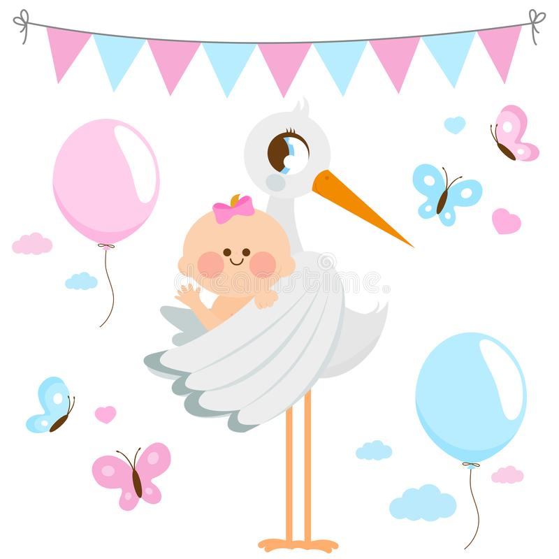 Stork delivering a new baby girl. Vector collection. Vector Illustration of a stork delivering a cute newborn baby girl royalty free illustration