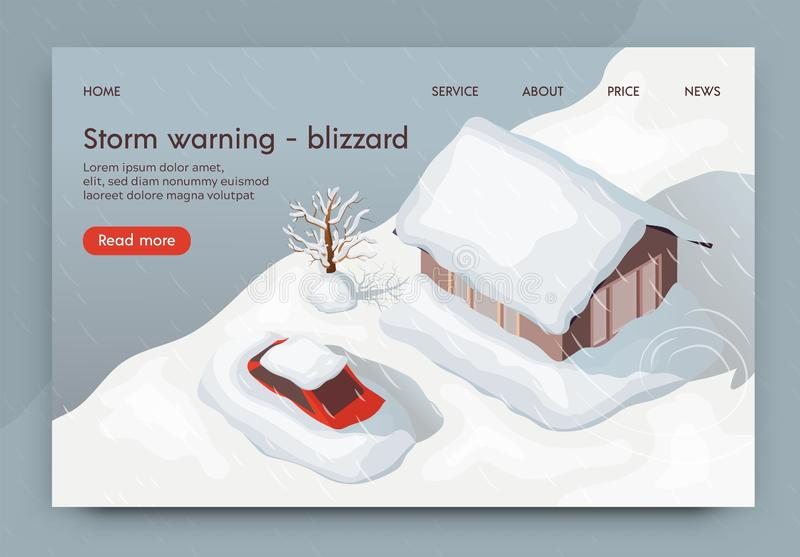 Vector Illustration Storm Warning Blizzard 3d. Natural Disaster in Winter Strong Snow Blizzard. City is Covered with High Layer Snow. Climate Problem on Planet royalty free illustration