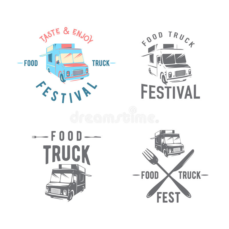 Vector illustration of street food truck graphic badge set royalty free illustration