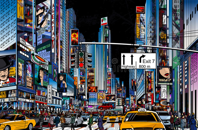 Street in New York city. Vector Illustration of a street in New York city at night vector illustration