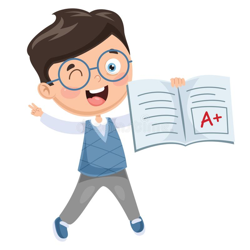 Vector Illustration Of Student Showing Diploma stock illustration