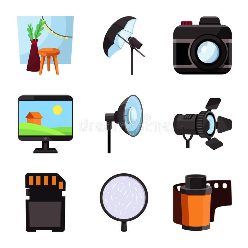 Vector illustration of studio and photo icon. Collection of studio and equipment vector icon for stock. Isolated object of studio and photo symbol. Set of royalty free illustration
