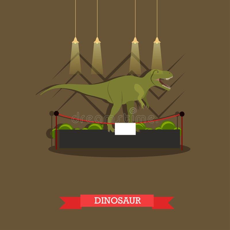 Vector illustration of stuffed tyrannosaurus in museum, flat style stock illustration