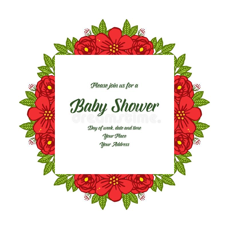 Vector illustration style of card baby shower with red rose bouqet frames bloom stock photo