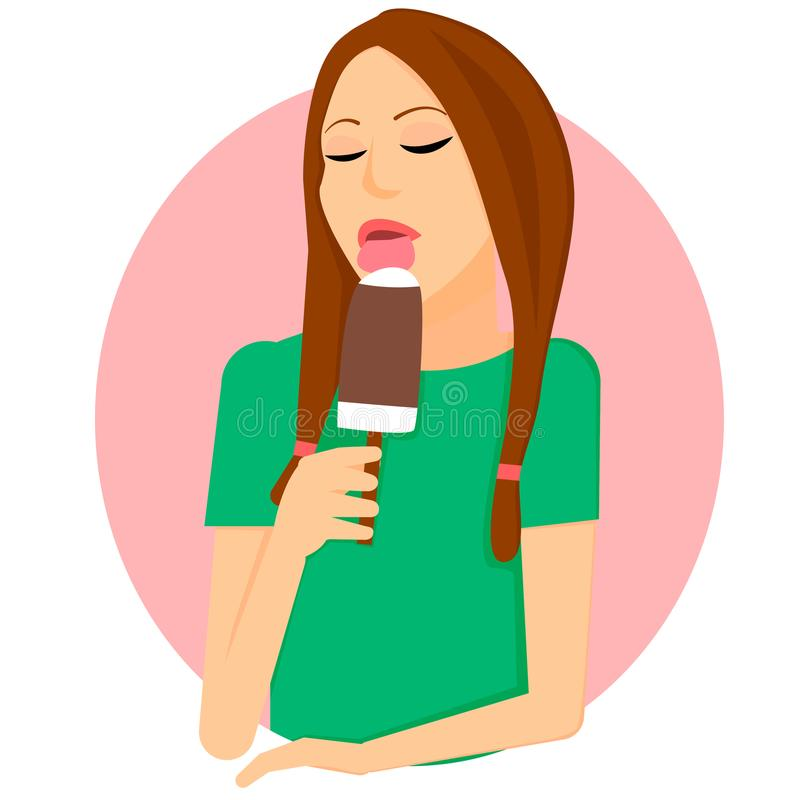 The girl licks ice cream on a stick. royalty free illustration