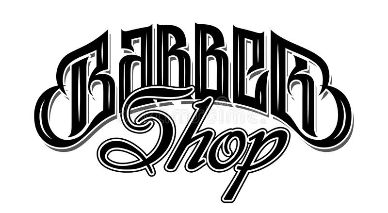 Vector illustration with stylish inscription for barbershop. Calligraphy. Lettering.  royalty free illustration