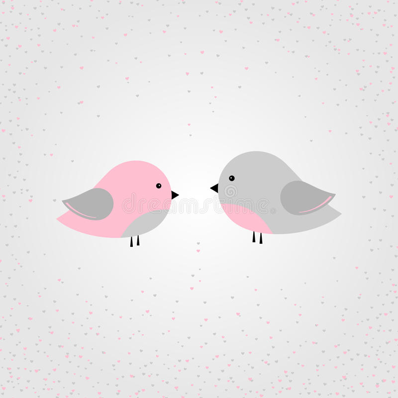 Vector illustration - stylized colorful pair of birds in love royalty free illustration