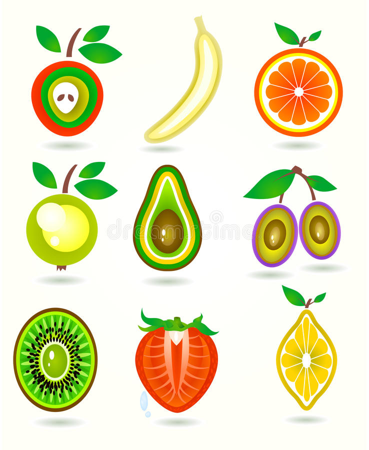Download Vector Illustration Of Stylized Cut Fruits. Stock Vector - Image: 39657257