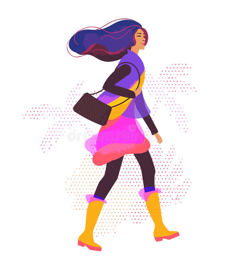 Vector illustration with stylized girl walking in the street. vector illustration