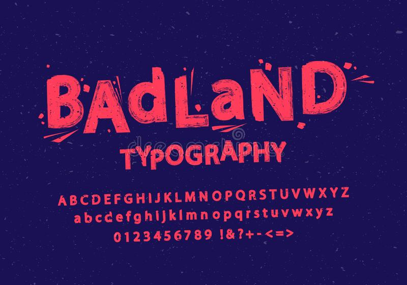 Vector illustration of stylized grunge and cracked font. Alphabet and numbers. royalty free illustration