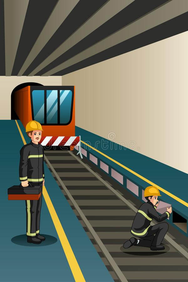 Subway Workers Working on the Rails Illustration stock illustration