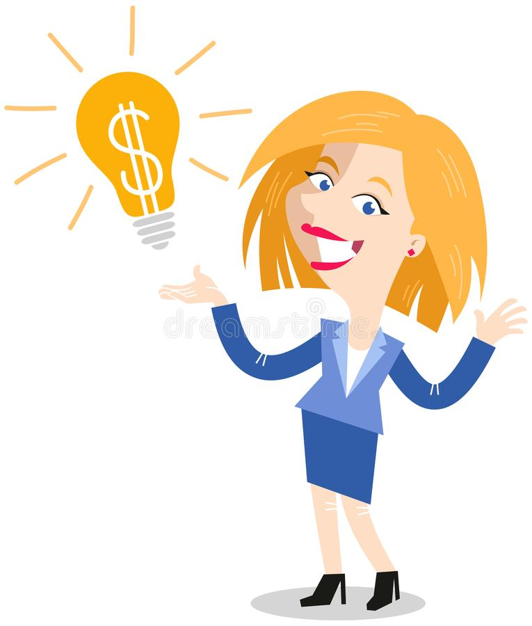 Vector illustration of a successful blonde cartoon business woman next to light bulb with dollar sign, having a great idea. Isolated on white background royalty free illustration