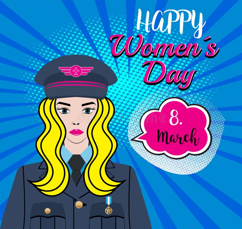 Happy Women´s Day - 8.march. A Woman Character - soldier, pilot, captain in the air force, us army. Pinpup girl with a blond hair vector illustration