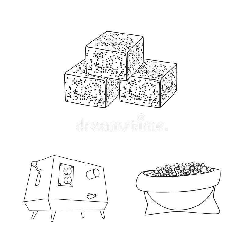 Vector illustration of sugar and field symbol. Set of sugar and plantation stock vector illustration. Isolated object of sugar and field sign. Collection of stock illustration